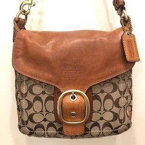 COACH Tan Leather Braided Shoulder Handbag 👜😁